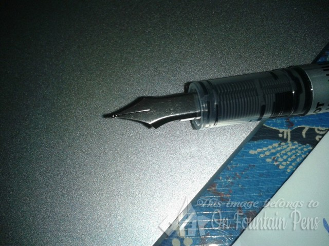 Flat, smooth, designless nib section -- but it's not a surprise given the low price of the pen