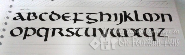 Foundational (roundhand) Uncial. I like this script! Not too difficult to write too.