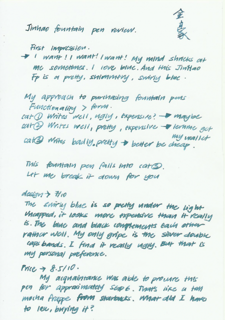 Written Blue Jinhao FP review Page 1