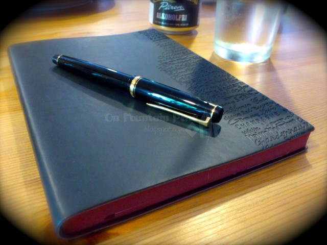 Daycraft Signature Wine Journal, with a Namiki Falcon and blurry edges