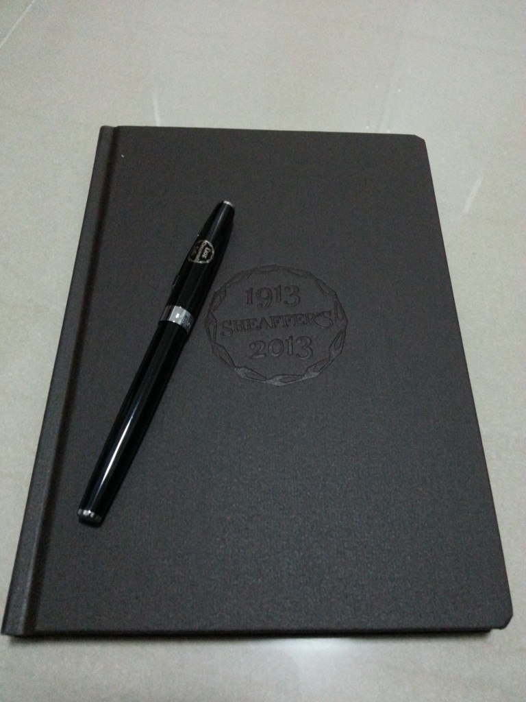 With a nice textured notebook!